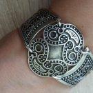 Silver Plated Curved Shaped Armor Link Bracelet, Armenian Bracelet, Ethnic Tribal Bracelet