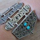 Silver Plated Shaped Armor Link Bracelet Turquoise, Armenian Bracelet, Ethnic Tribal Bracelet