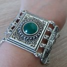Silver Plated Shaped Armor Link Bracelet Chrysolite, Armenian Bracelet, Ethnic Tribal Bracelet