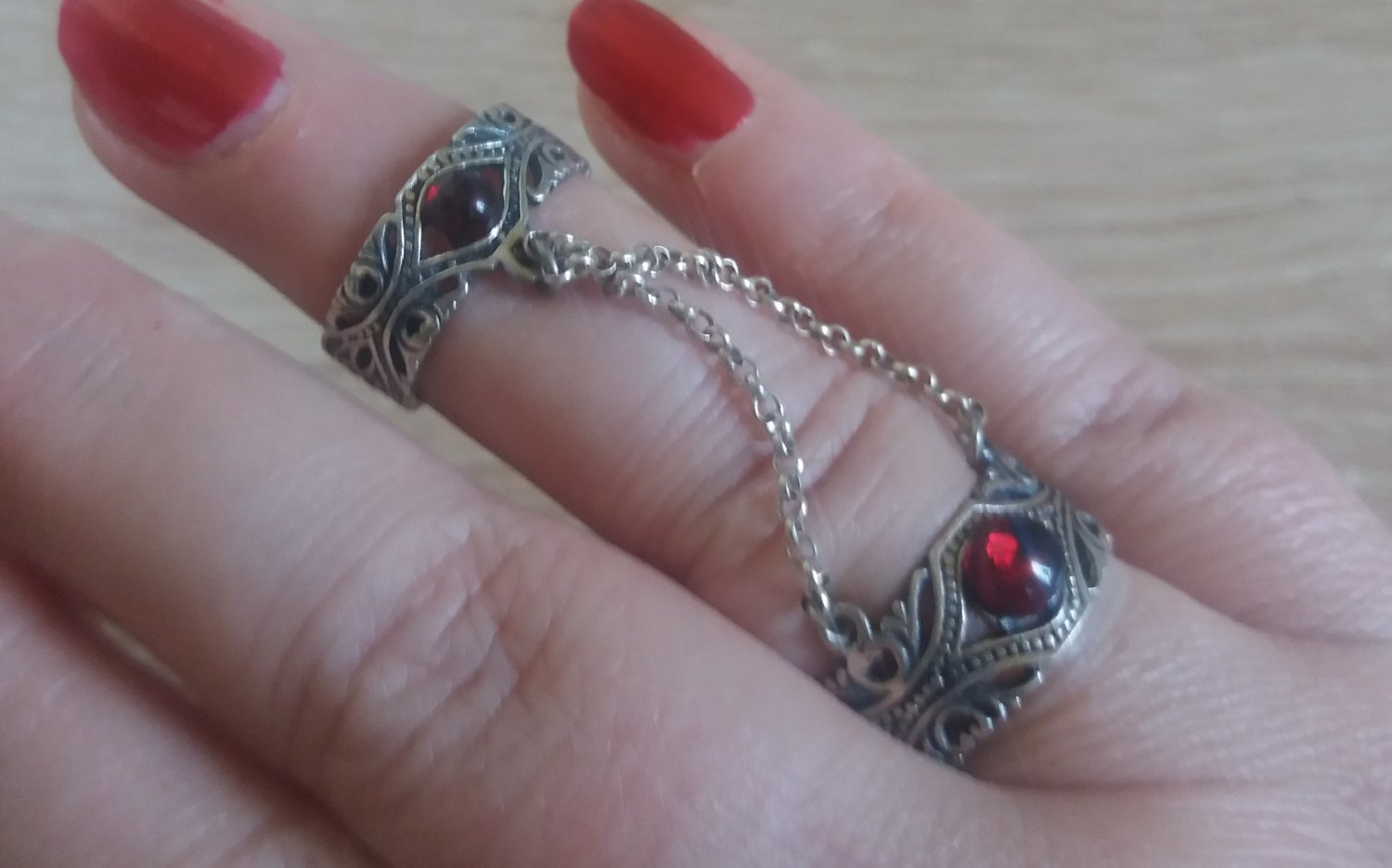 Armenian Double Ring Sterling Silver with Garnet Stones