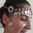 Tigran the Great Forehead Black Onyx Silver Plated Drop, Armenian Headpieces Drop