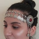 Tigran the Great Forehead Flower Button Silver Plated Drop, Armenian Headpieces Drop
