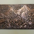 Vintage Embossed Copper Wall Decoration of the battle of Avarayr, Famous Armenian Battle, Chekanka