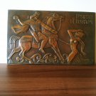 Vintage Embossed Copper Wall Decoration of The Legend of King Artashes and Satenik