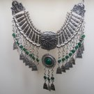 Silver Plated Drop Coin Anahit Necklace, Armenian Necklace, Armenian Necklace with Chrysolite Stones