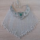 Silver Plated Three Pieces Tears Drops Necklace, Armenian Statement Necklace with Chrysolite Stones