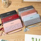 Women's Glitter Sequined Patchwork PU Leather Long