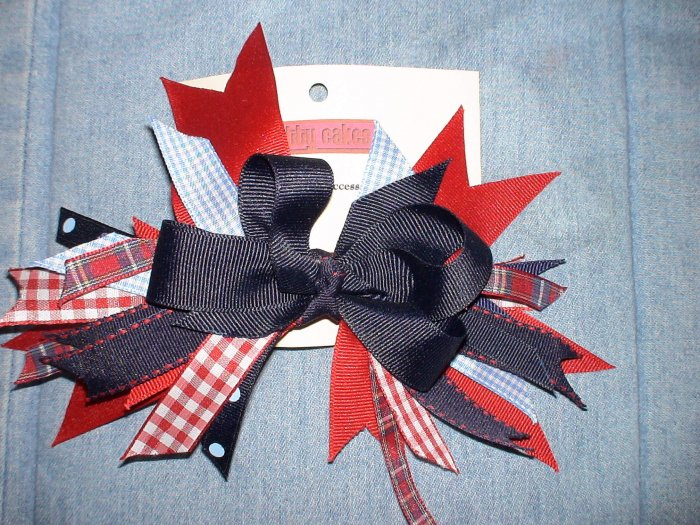 Red Gingham & Blue Flash Bow