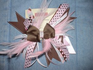 Pink Feathers Flash Bow