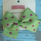 Green w/ Pink Polka Dots Bow