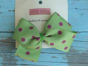 Green w/ Pink Polka Dots Bow