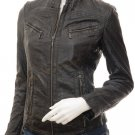 Women's Black Croc Leather Biker Jacket