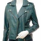 Ladies Leather Biker Jacket In Teal