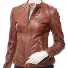 Women's Tan Leather Biker Jacket