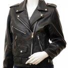 Women's Black Leather Biker Jacket Coden