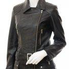 Women's Black Leather Biker Jacket Simi