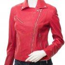 Women's Red Leather Biker Jacket Gadsden