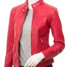 Women's Red Leather Jacket Dotelle