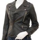 Women's Black Leather Biker Jacket Alden