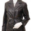 Women's Brown Leather Blazer Eldridge