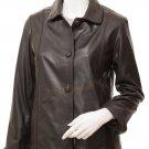 Women's Brown Leather Jacket Cusseta