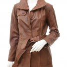 Women's Leather Trench Coat In Brown Campbell