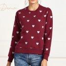 Heart Printed Women Sweatshirt in Maroon
