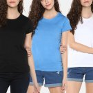 Solid T shirts for girls in White blue and black color