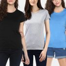 Girl's T shirts ( Pack of 3) in Black Gray and Blue