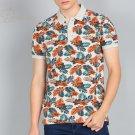 Floral Print Men Polo Neck Beige T-Shirt