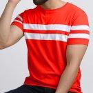 Striped Men Round Neck Red T-Shirt