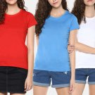 Self design T shirts for girls in Red Blue and White color (Pack of 3)