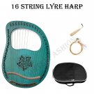 16 String Rosewood Harp In C Green