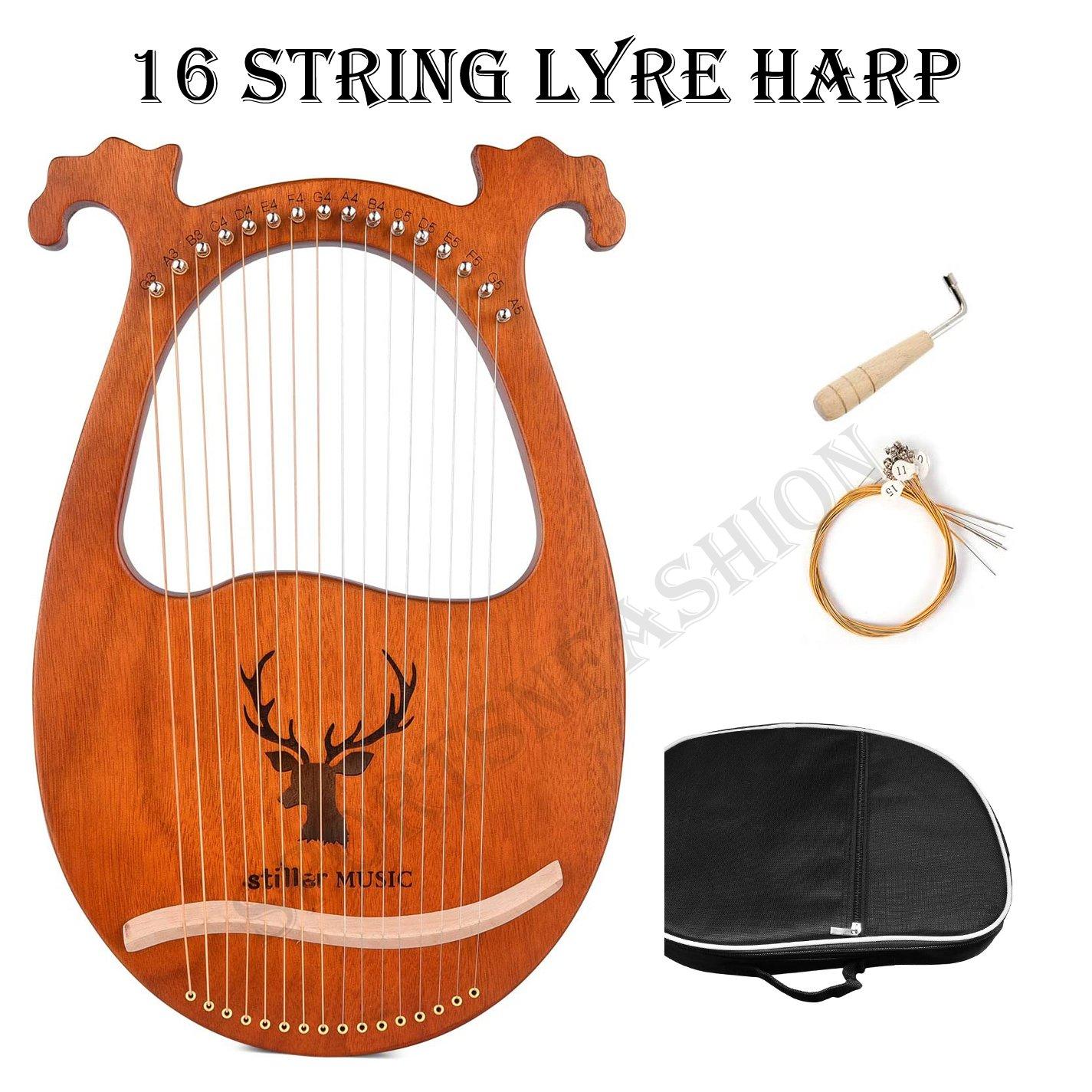 16 String Lyre Harp Solid Wood String Instrument