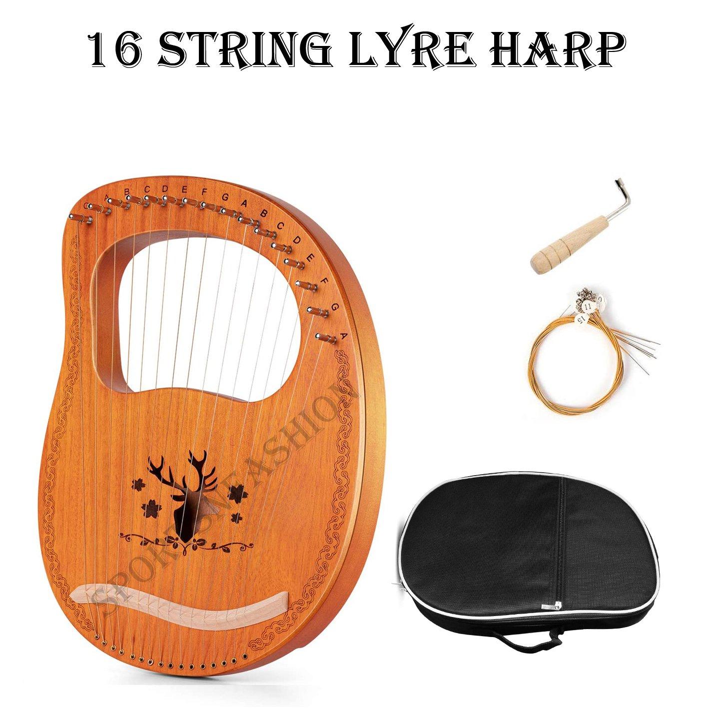 16 string Lyre Harp Mahogany Plywood Body String Instrument with Tuning key