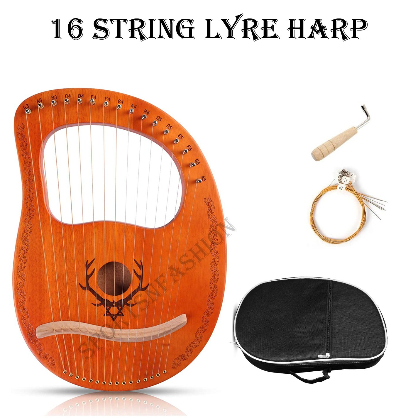 16 string Lyre Harp Plywood Body String Instrument with Tuning key