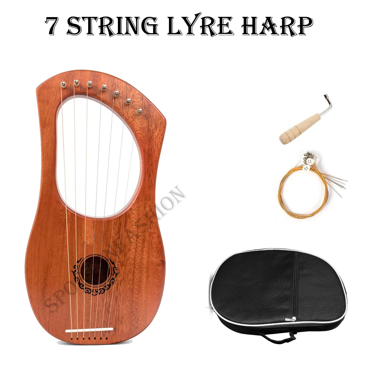 7 string Lyre Harp with Tuning key