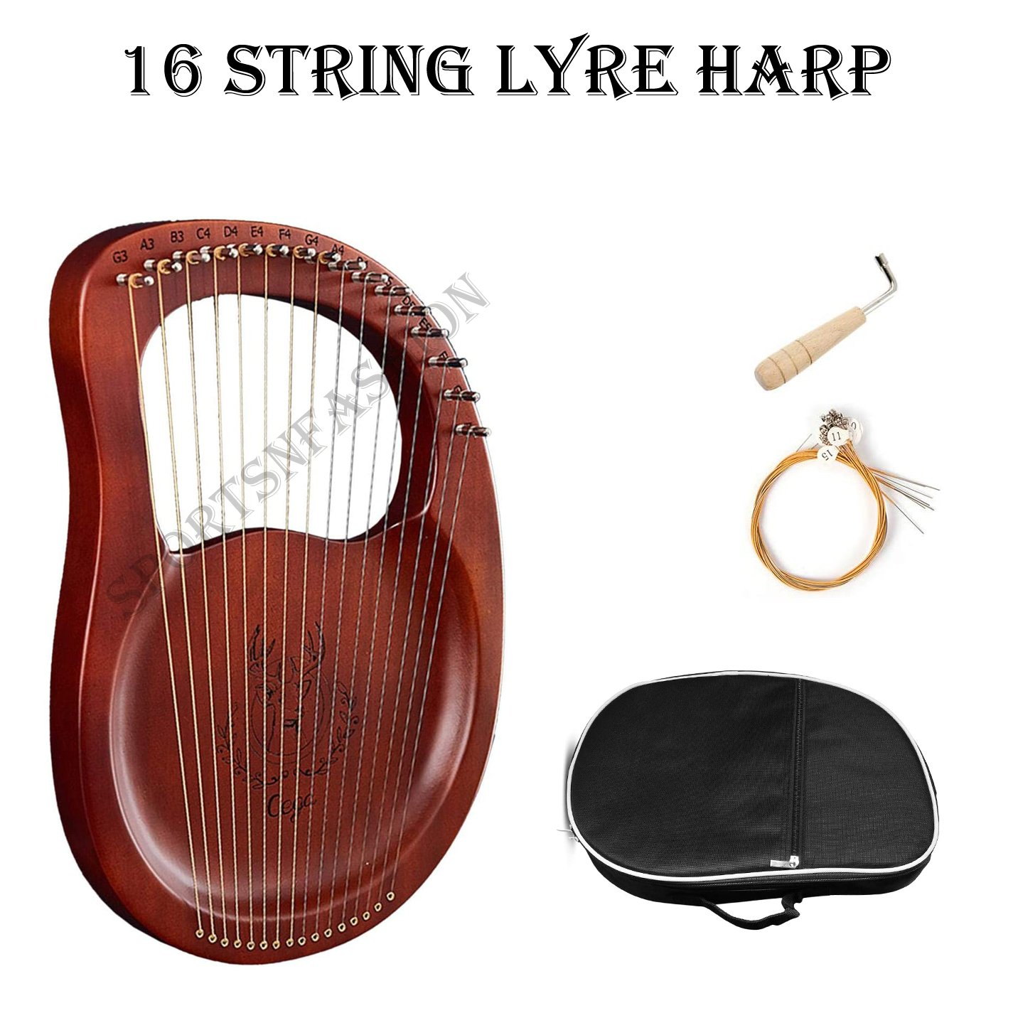 16 Strings Lyra Harp  with Carved Note Tuning Key