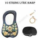 Green & Golden Irish Lyre Harp 10 String Free String Set