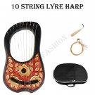 Red & Golden Irish Lyre Harp 10 String Free String Set