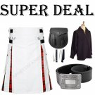 Super Deal Hybrid White Cotton & Tartan Wallace Under Pleats with Leather straps