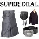 Super Deal Grey Cargo Pocket Kilt For Stylish Men