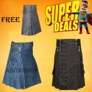 Super Deal Two Denim Kilts with One Free Cotton kilt