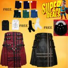 Super Deal 2 Leather Kilts with Free sporran,socks,shirt and kilt Flashes