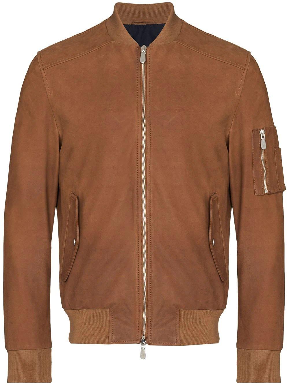 Eleventy zip-up leather bomber jacket