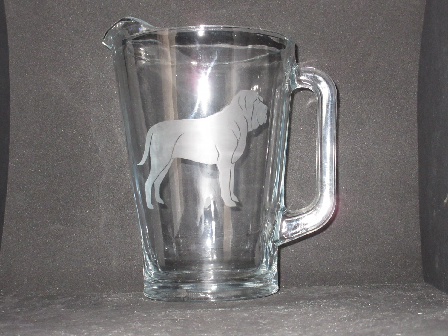 NEW ETCHED MASTIFF GLASS BEER ICED TEA WATER SANGRIA PITCHER