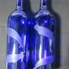 NEW ETCHED BELUGA WHALE COBALT BLUE GLASS WINE BOTTLE CANDLEHOLDERS