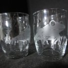 2 NEW ETCHED TREE FROG JUICE GLASSES