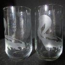 2 NEW ETCHED SKUNK JUICE GLASSES