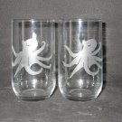 2 NEW ETCHED OCTOPUS JUICE GLASSES